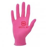 Перчатки розовые нитриловые неопудренные размер М