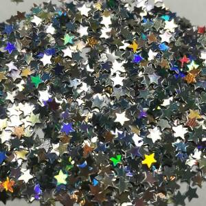 Звёзды Серебро голографик