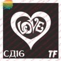 "Трафарет СД16 ""СЕРДЦЕ LOVE"""